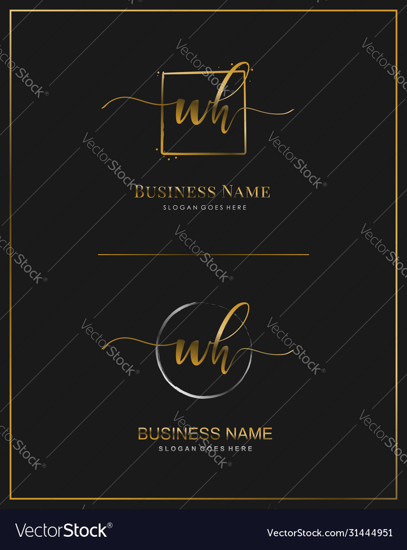 W h wh initial handwriting logo letter