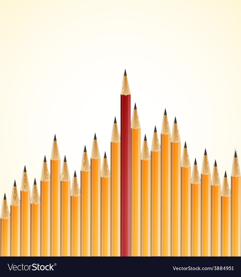 Yellow pencils and one red crayon standing out vector image