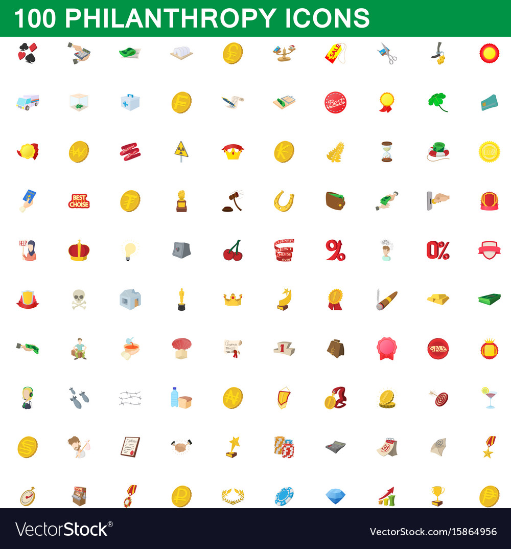 100 philanthropy icons set cartoon style