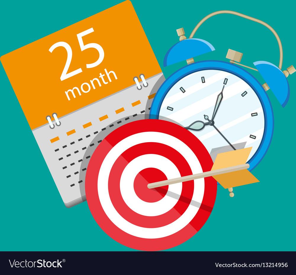 Alarm Clock Calendar Target Time Management Vector Image