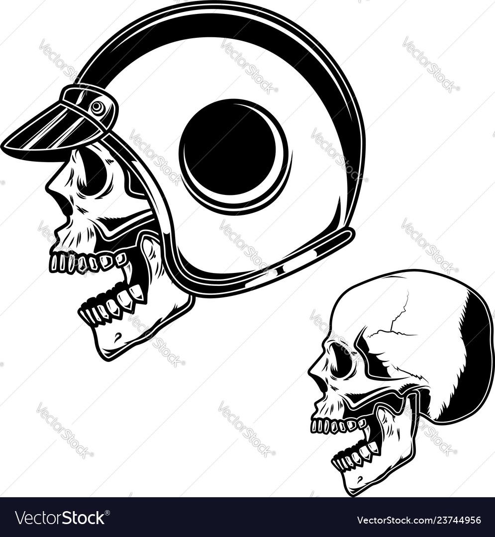 Biker skull in racer helmet for logo label sign