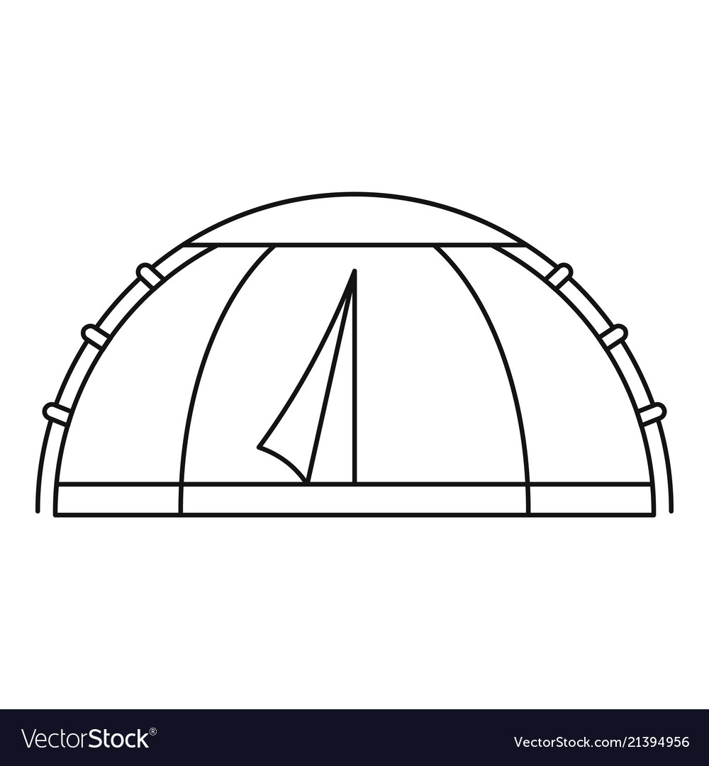 Camp round tent icon outline style