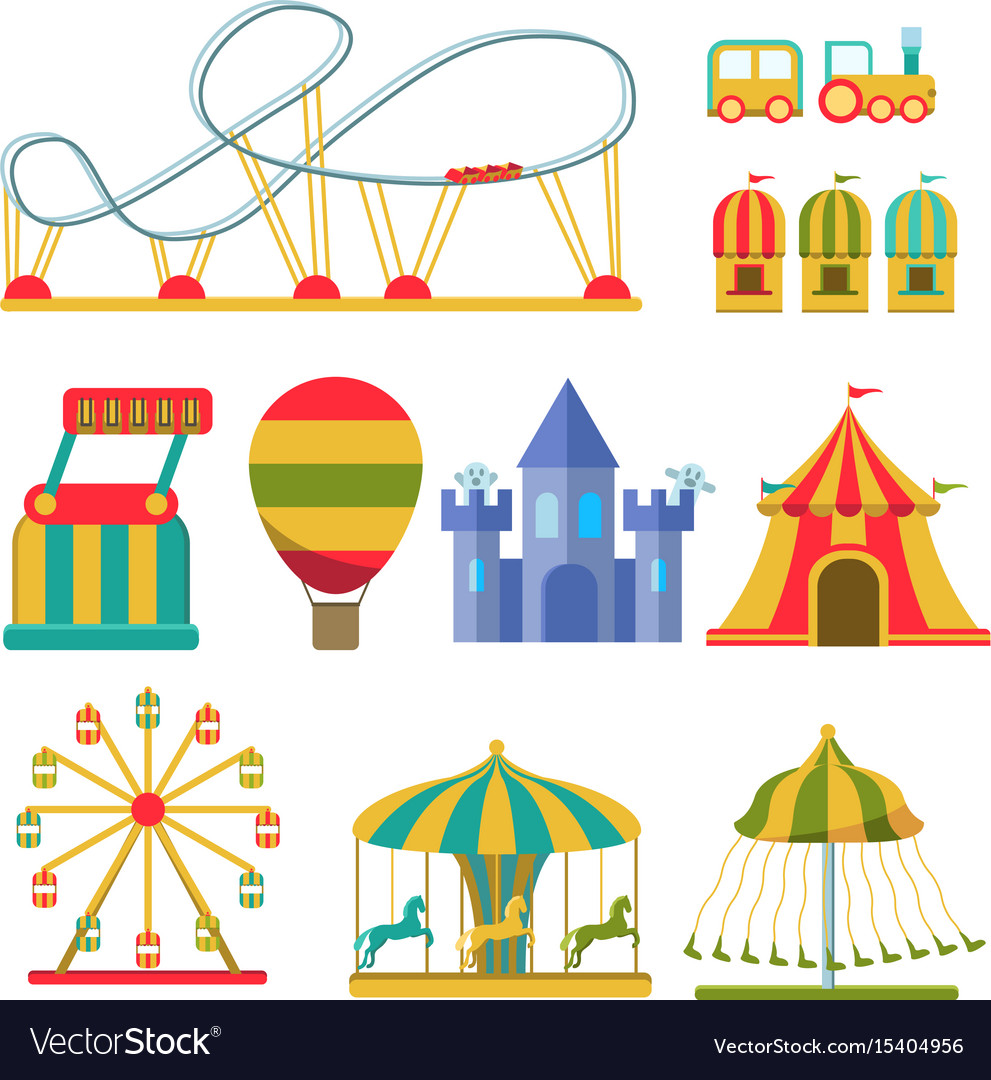 Collection of attractions and amusement park