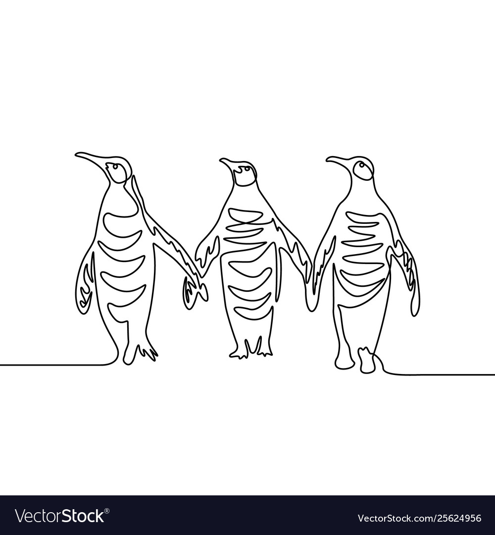 Continuous line drawing three penguins group of