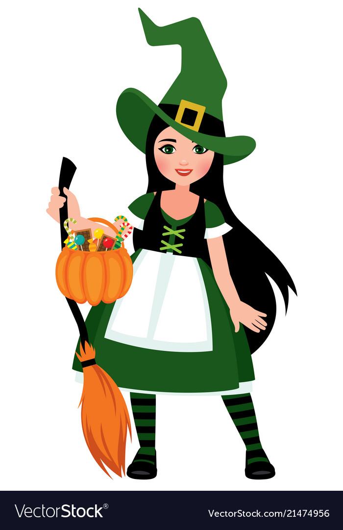 Cute Girl In Halloween Witch Costume In Full Lengt