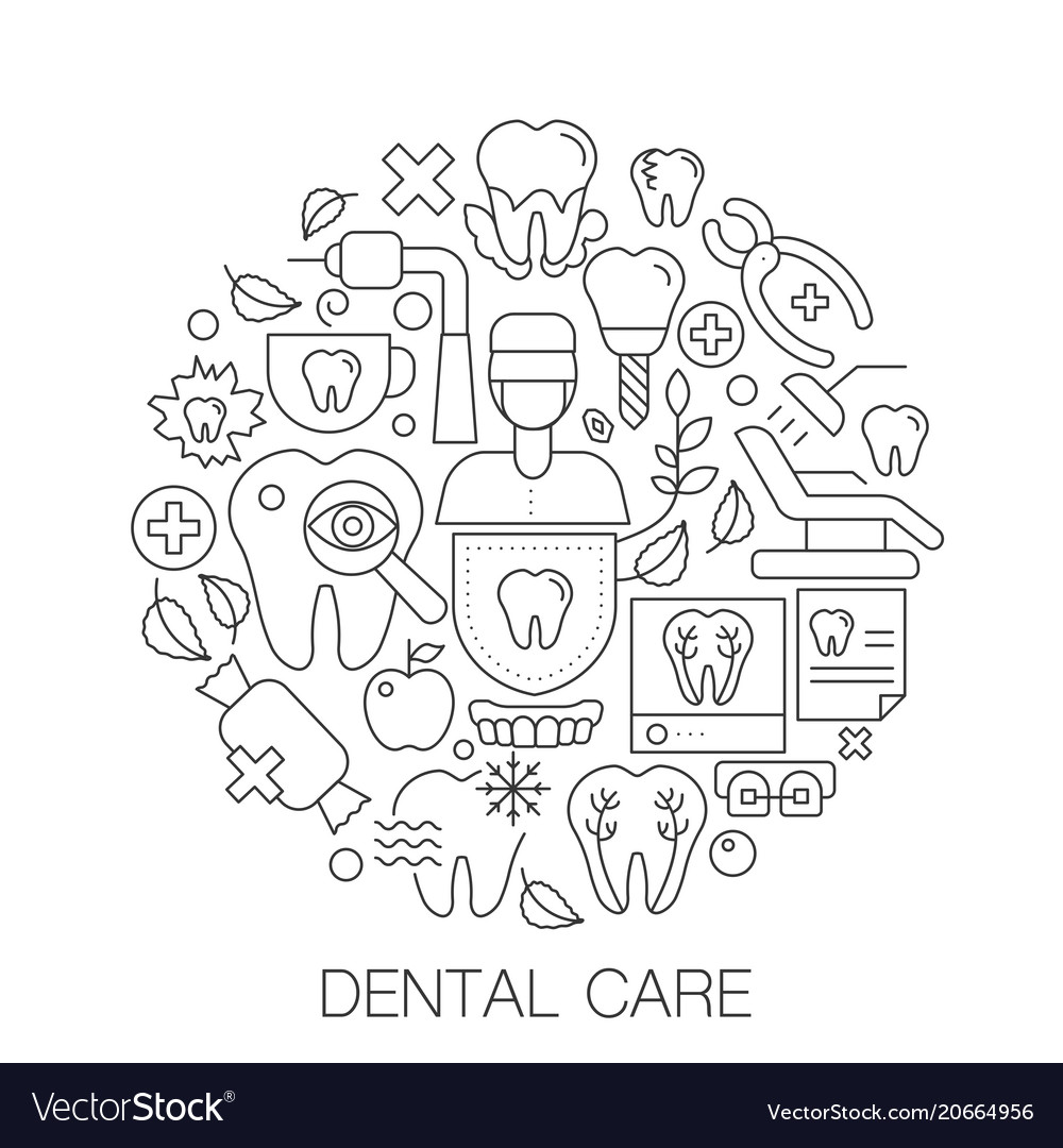Dental care in circle - concept line