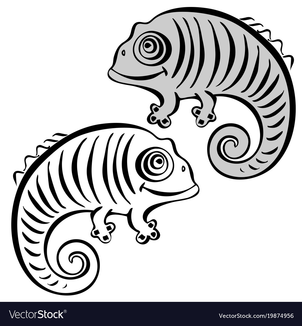Design with a a cute and friendly chameleon vector image