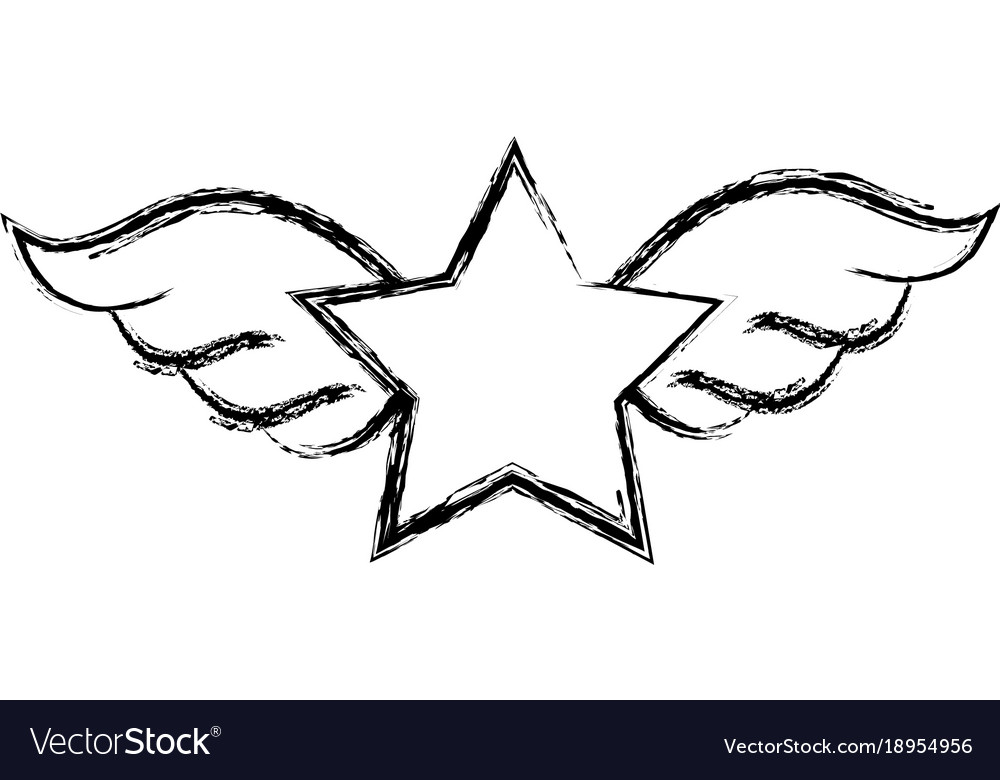 Figure Star With Wings Rock Symbol Art Royalty Free Vector