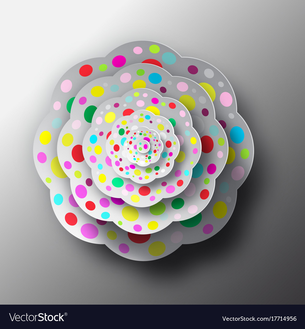 Paper cut flower top view abstract shape vector image
