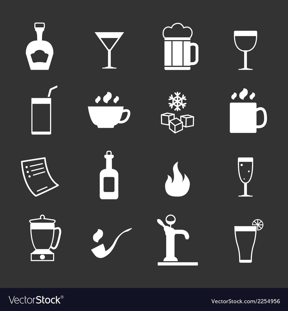Set icons of bar drinks and beverages
