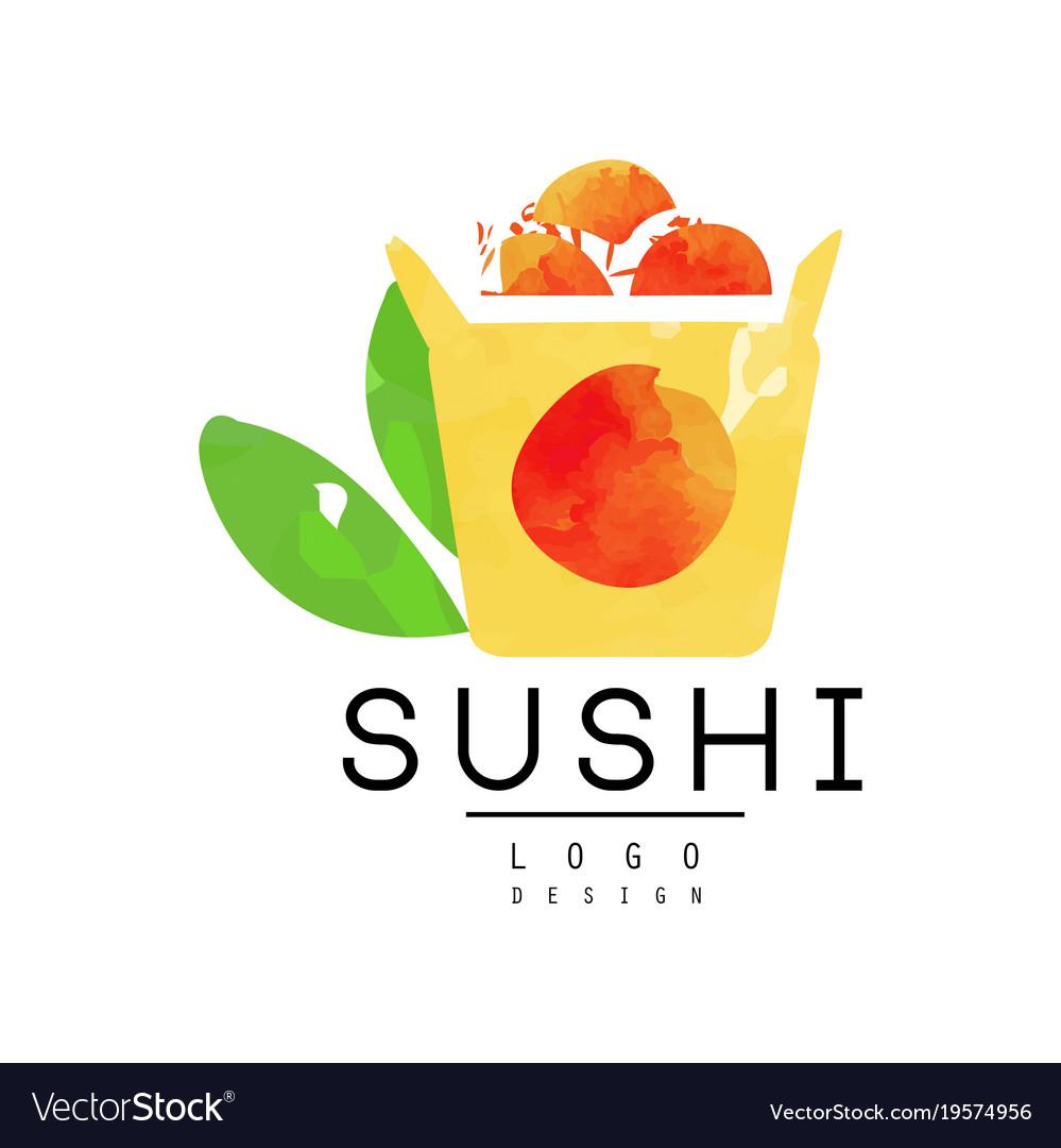 Sushi logo design japanese food emblem watercolor vector image