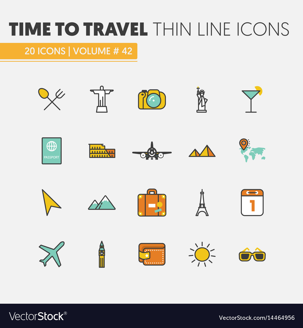 Travel vacations linear thin line icons