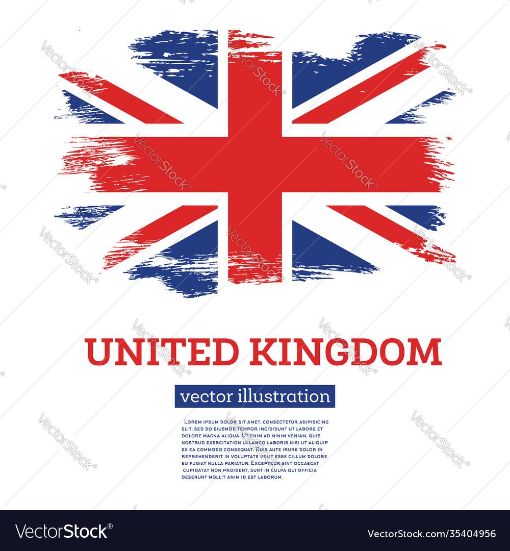 United kingdom flag with brush strokes