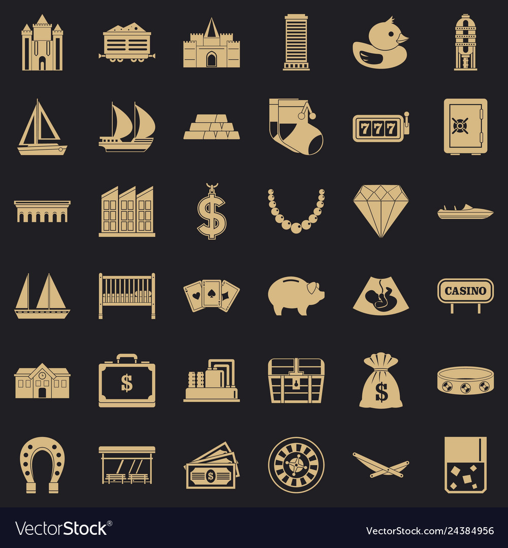 Wealth icons set simple style