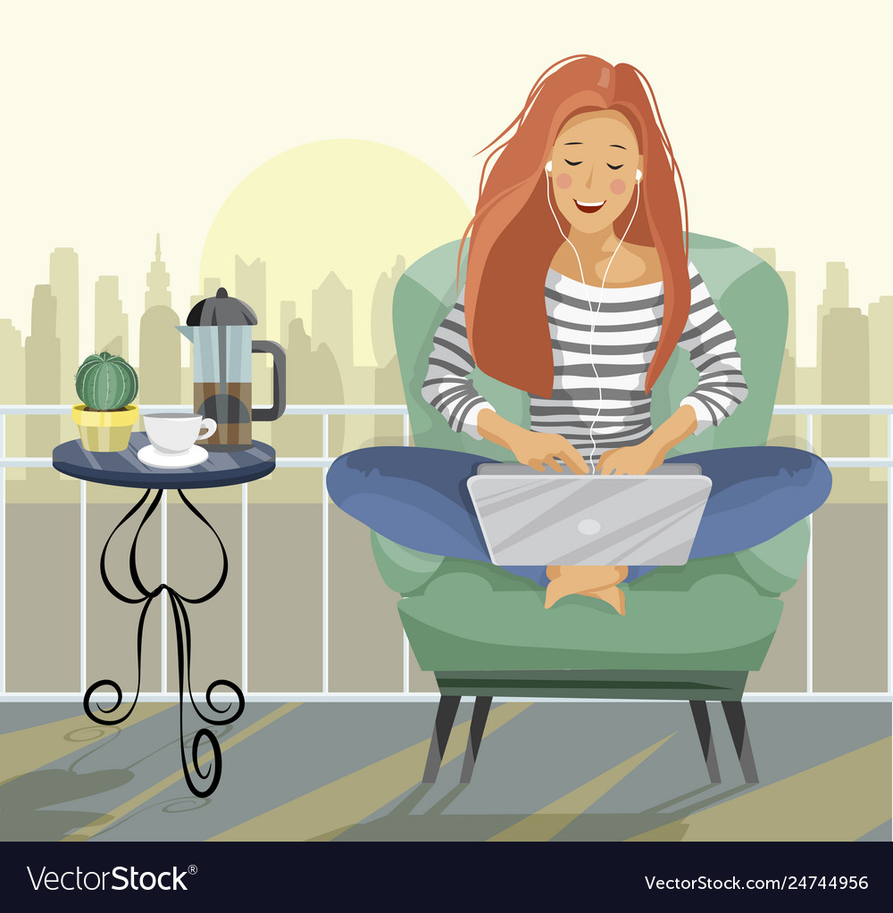 Young female blogger freelancer woman using