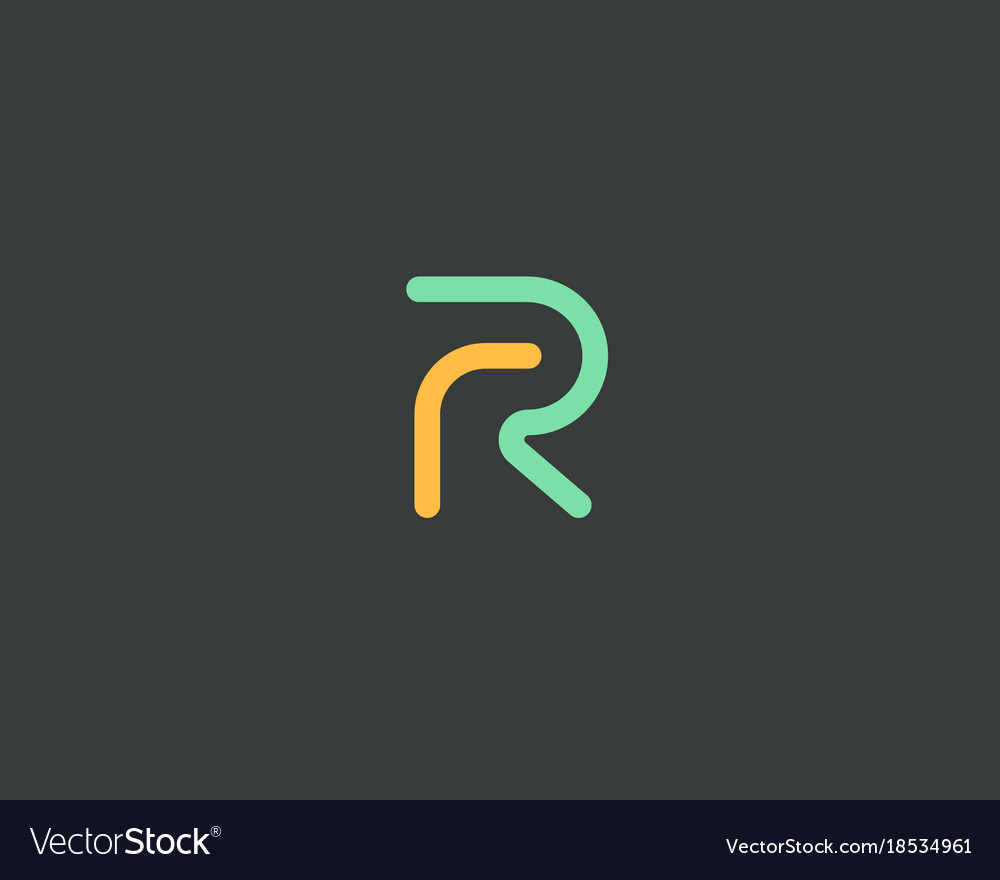 Abstract letter r logo design color linear