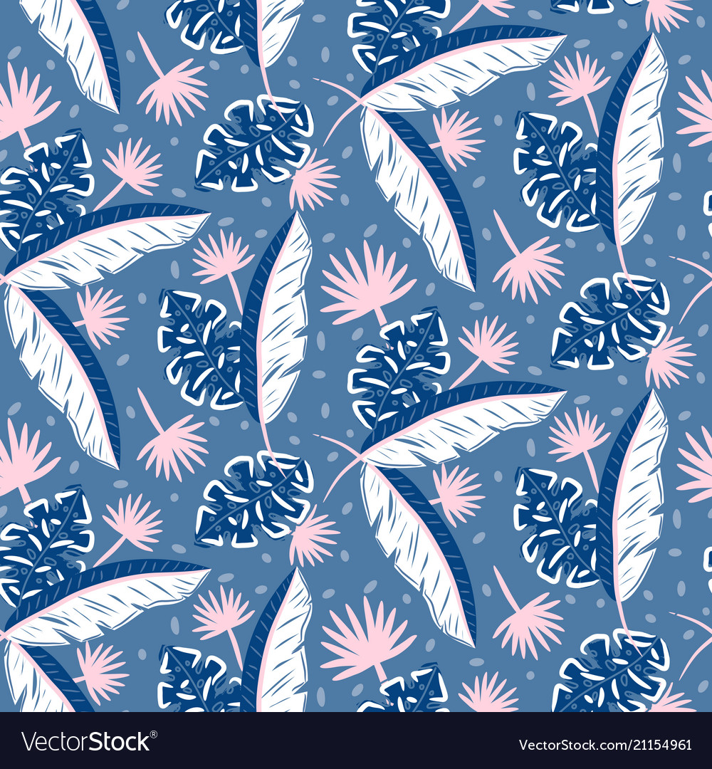 Blue jungle leaves pattern for summer seamless