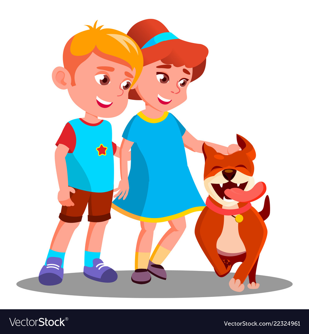 Boy and girl walk the dog pet isolated