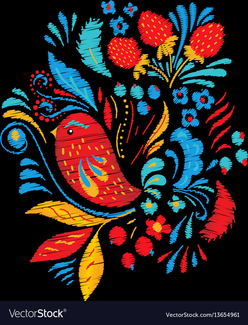 Bright embroidery with flowers berrias and bird