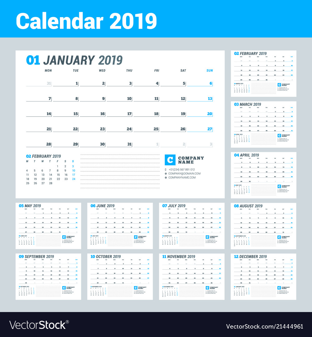 Calendar template for 2019 year business planner vector image flashek Image collections