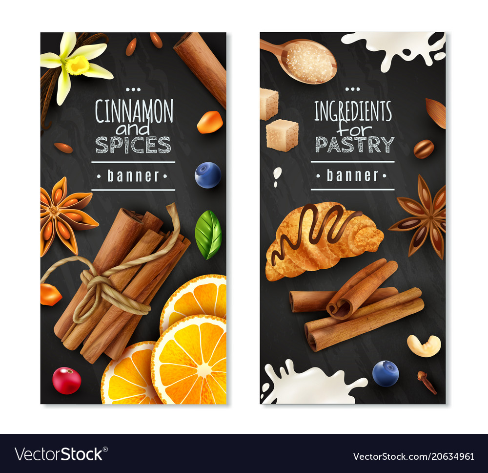 Cinnamon with spices vertical banners vector image