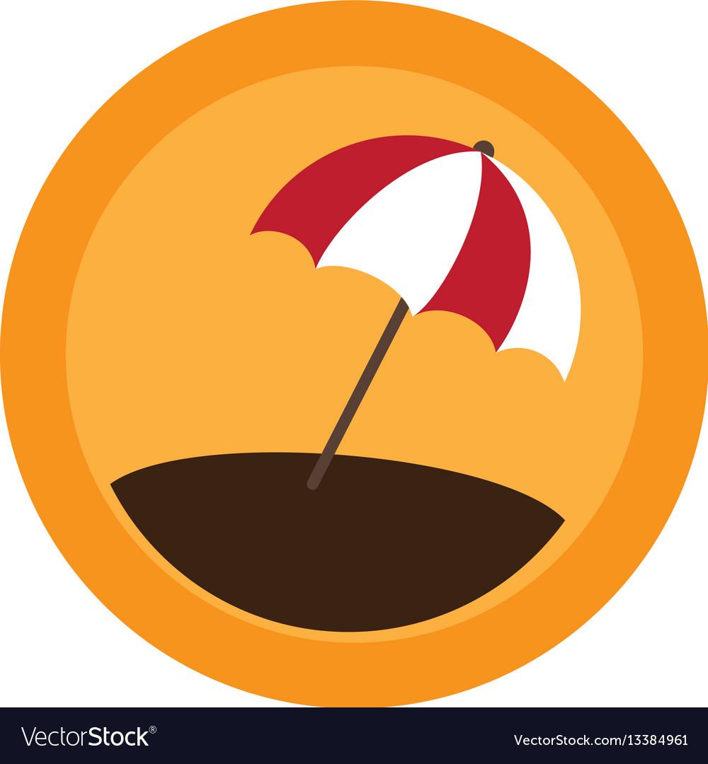 Color circular frame with beach umbrella vector image