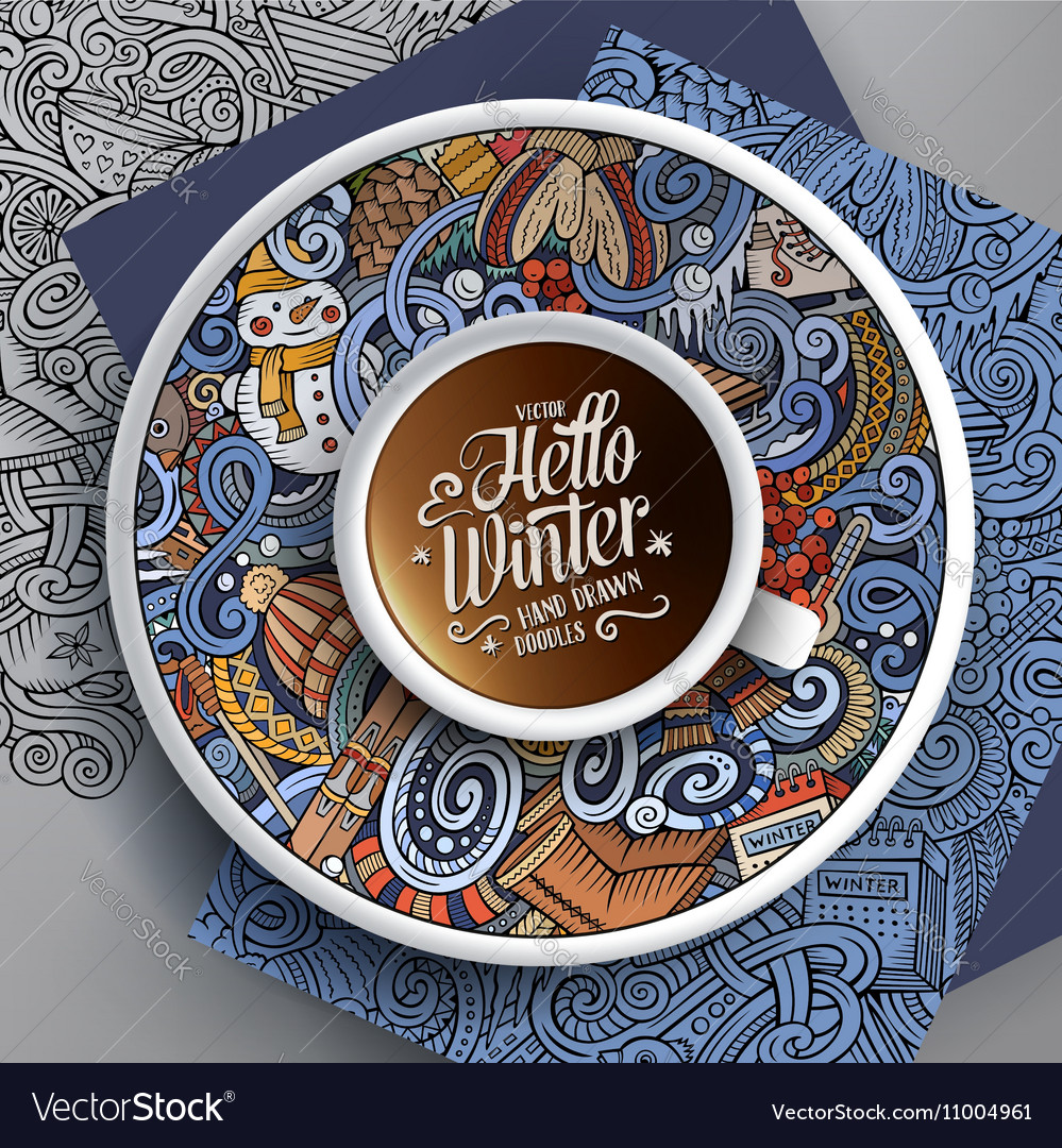 Cup of coffee with Winter doodles vector image