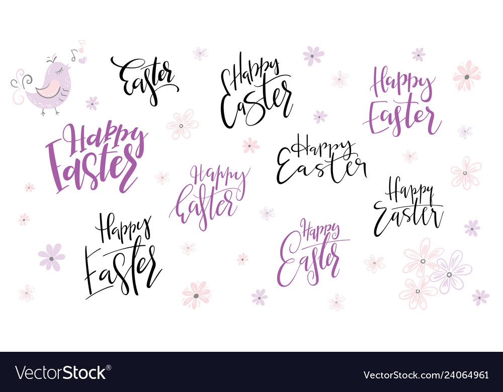 Hand lettering happy easter day phrases set