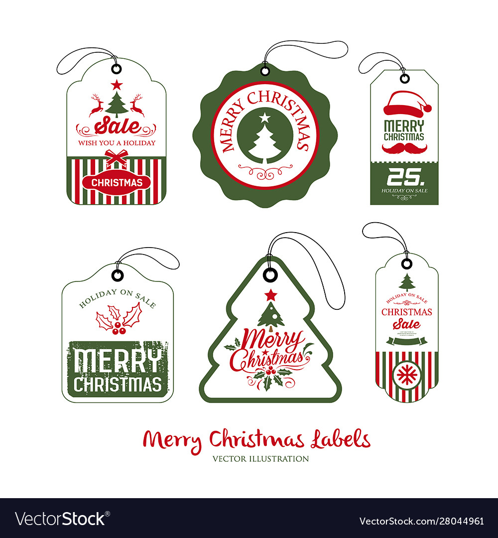 Merry christmas label collections design