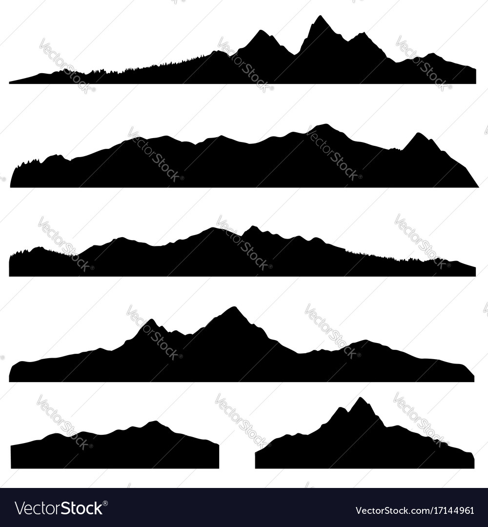Mountains landscape silhouette set abstract high