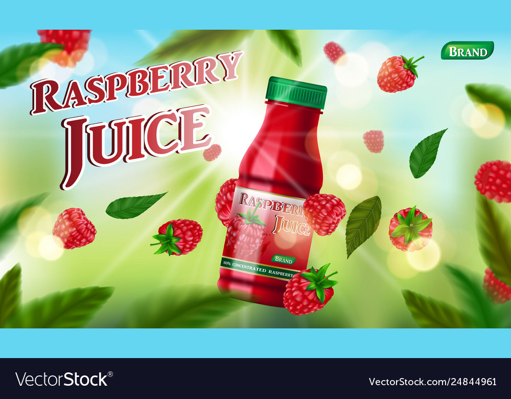 Raspberry juice bottle template for package design