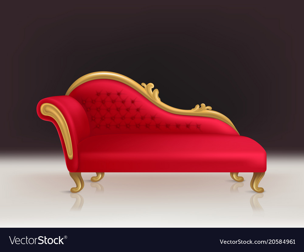 Realistic luxurious red velvet sofa couch