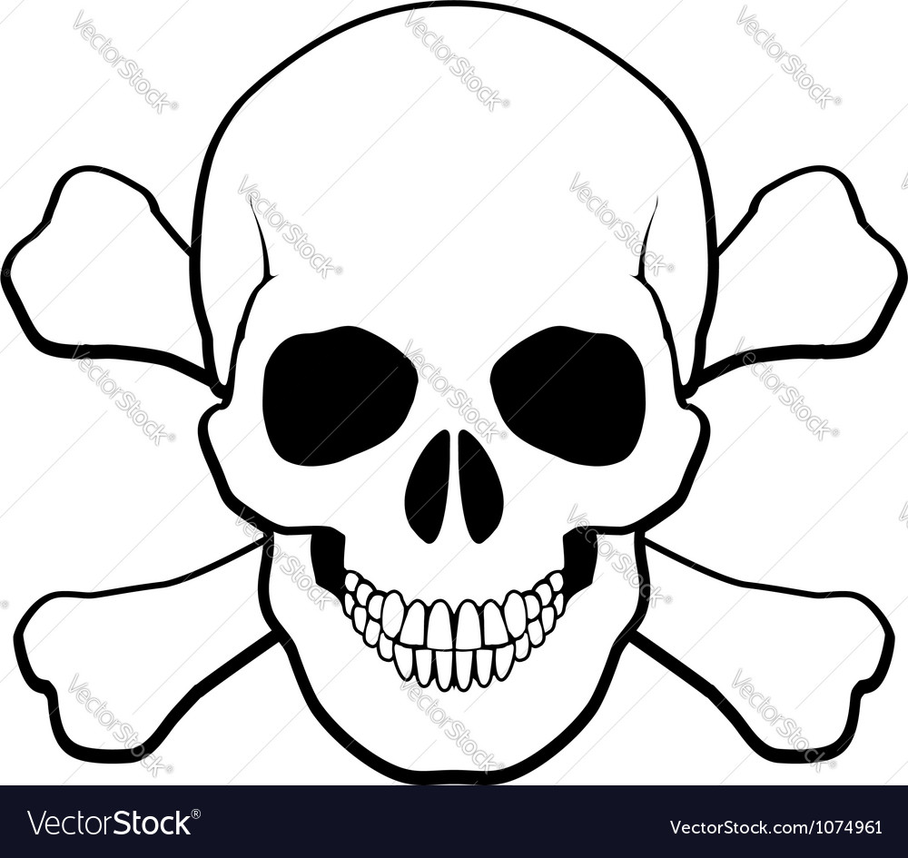 skull and crossbones royalty free vector image rh vectorstock com skull and crossbones vector silhouette cute skull and crossbones vector