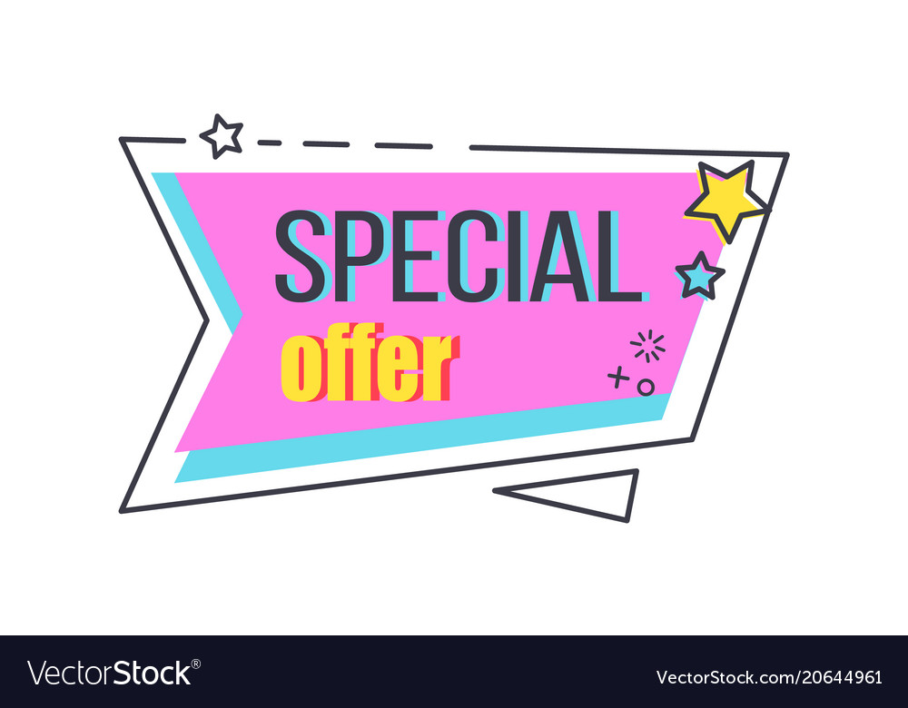 Special offer promo sticker with stars advert logo