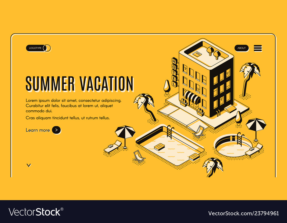 Summer vacation isometric web banner