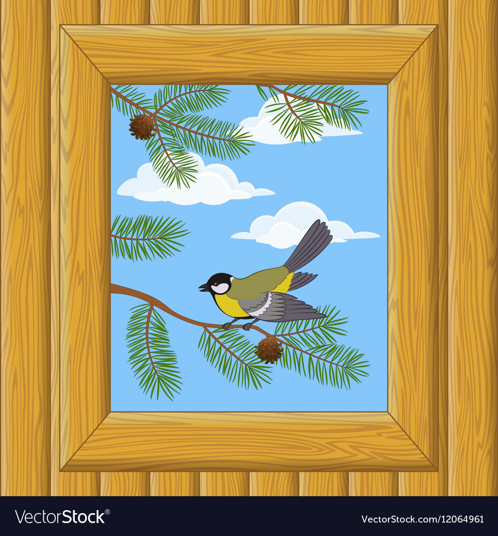 Wood Window with Titmouse
