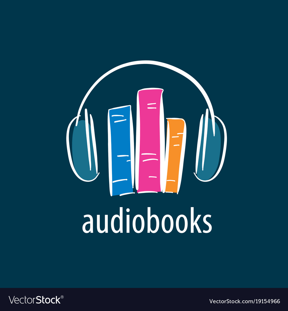 audiobook logo template royalty free vector image