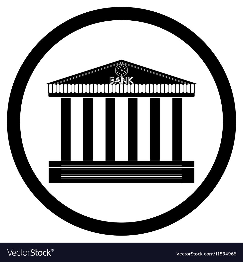 Bank building black silhouette icon vector image