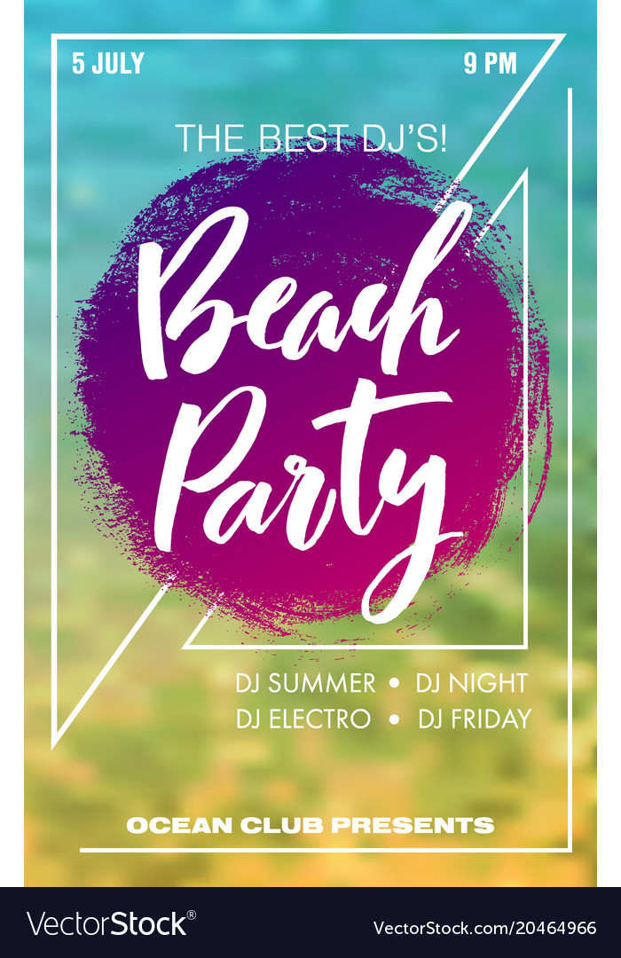 Beach party summer poster vector image