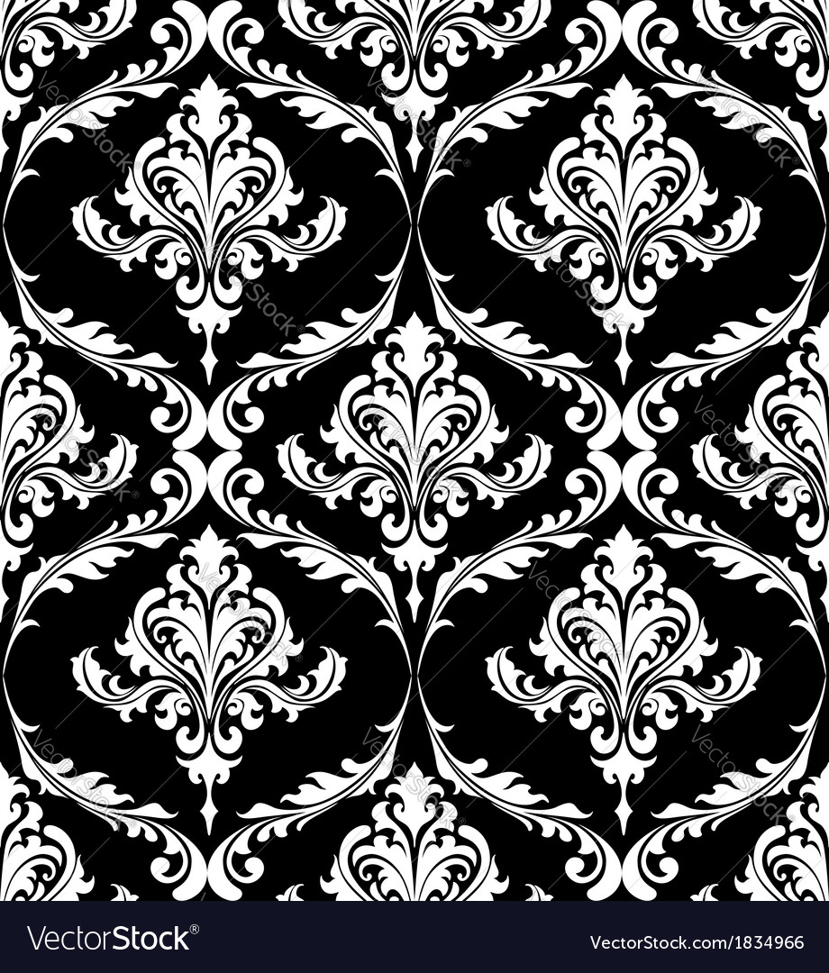 Black And White Vintage Damask Pattern Vector Image