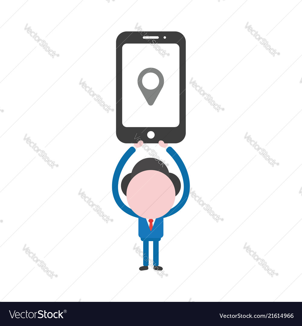 Businessman character holding up smartphone with
