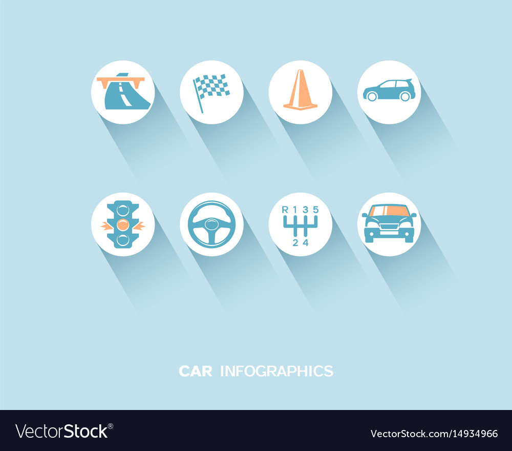 Car infographic with flat icons