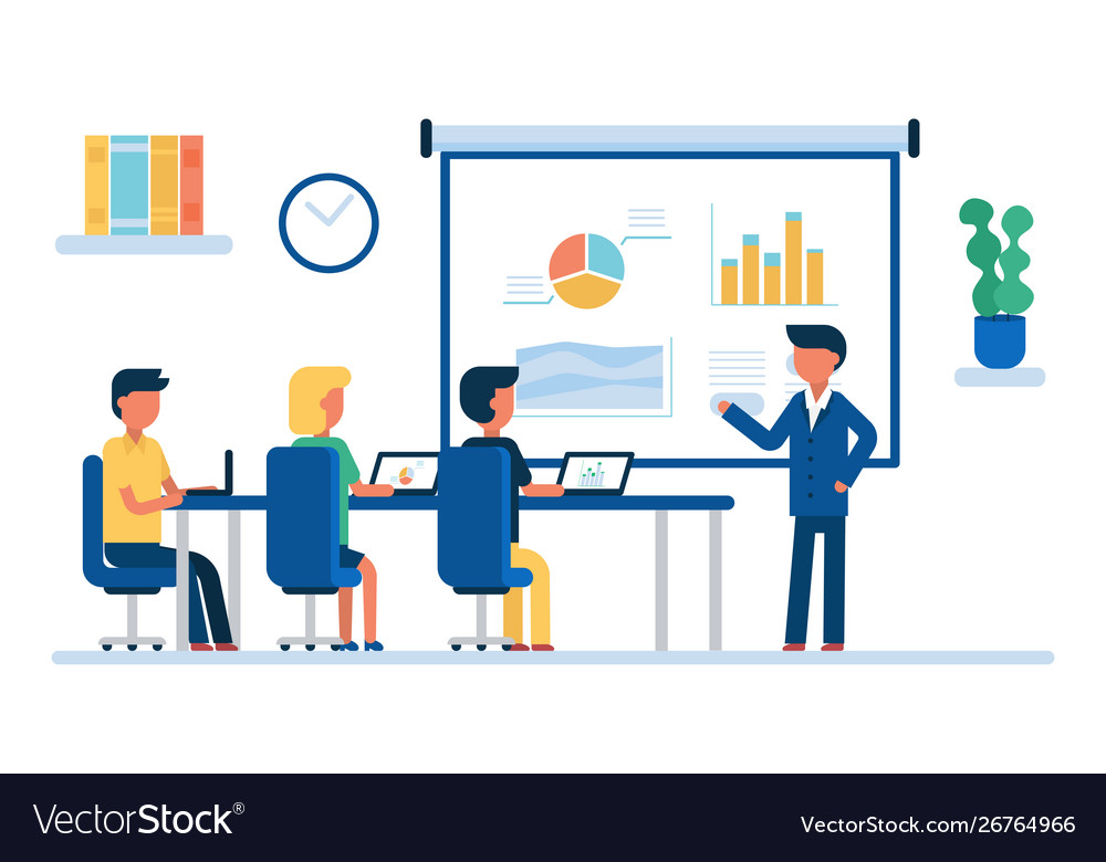 Cartoon color characters people business meeting