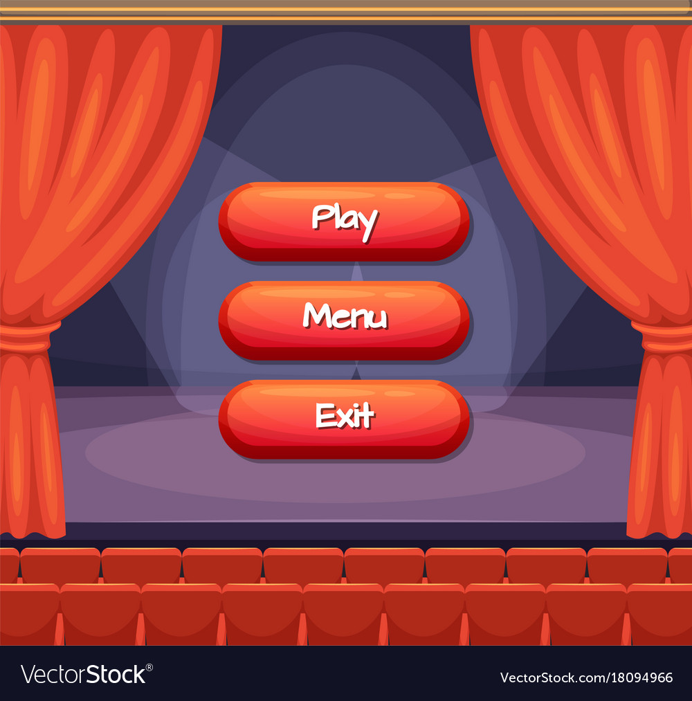 Cartoon style buttons with text for game