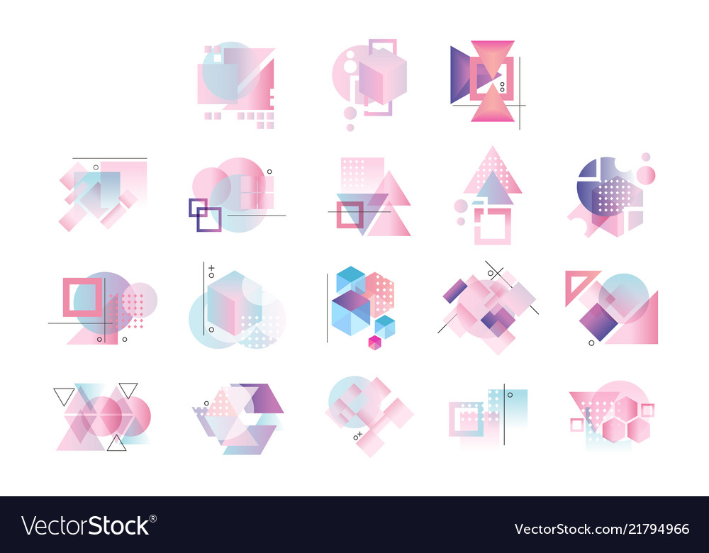 Colorful geometric logo set abstract elements