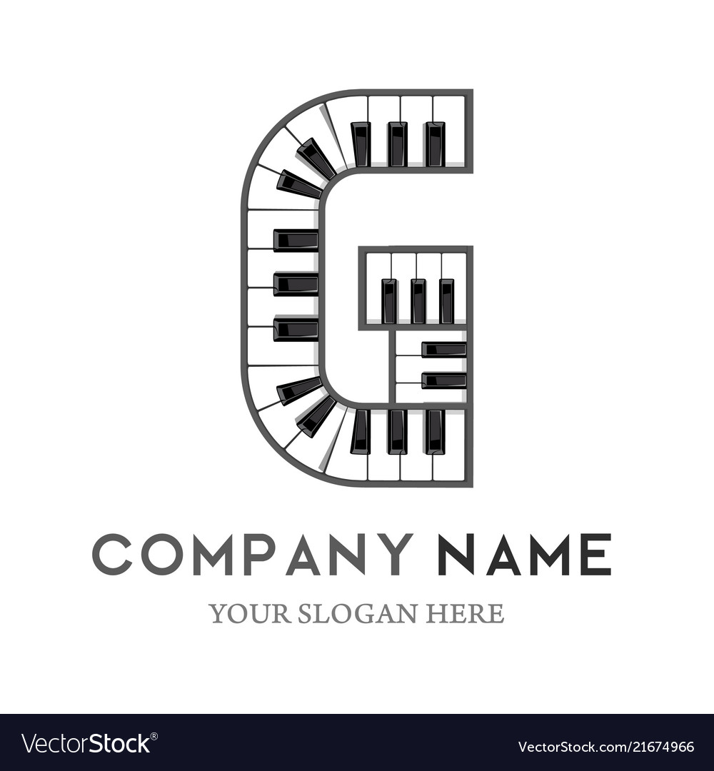 G letter logo design piano keyboard logo