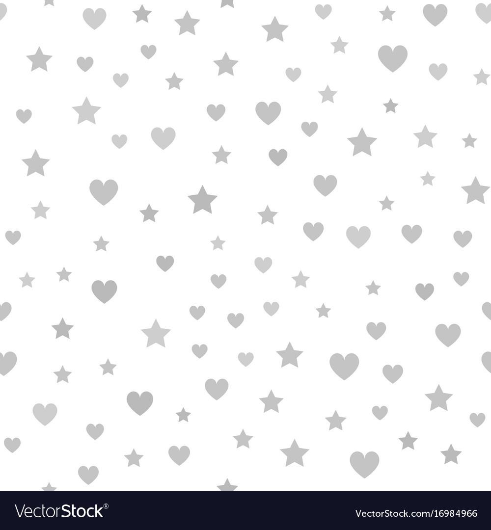 Gray heart star pattern seamless chaotic