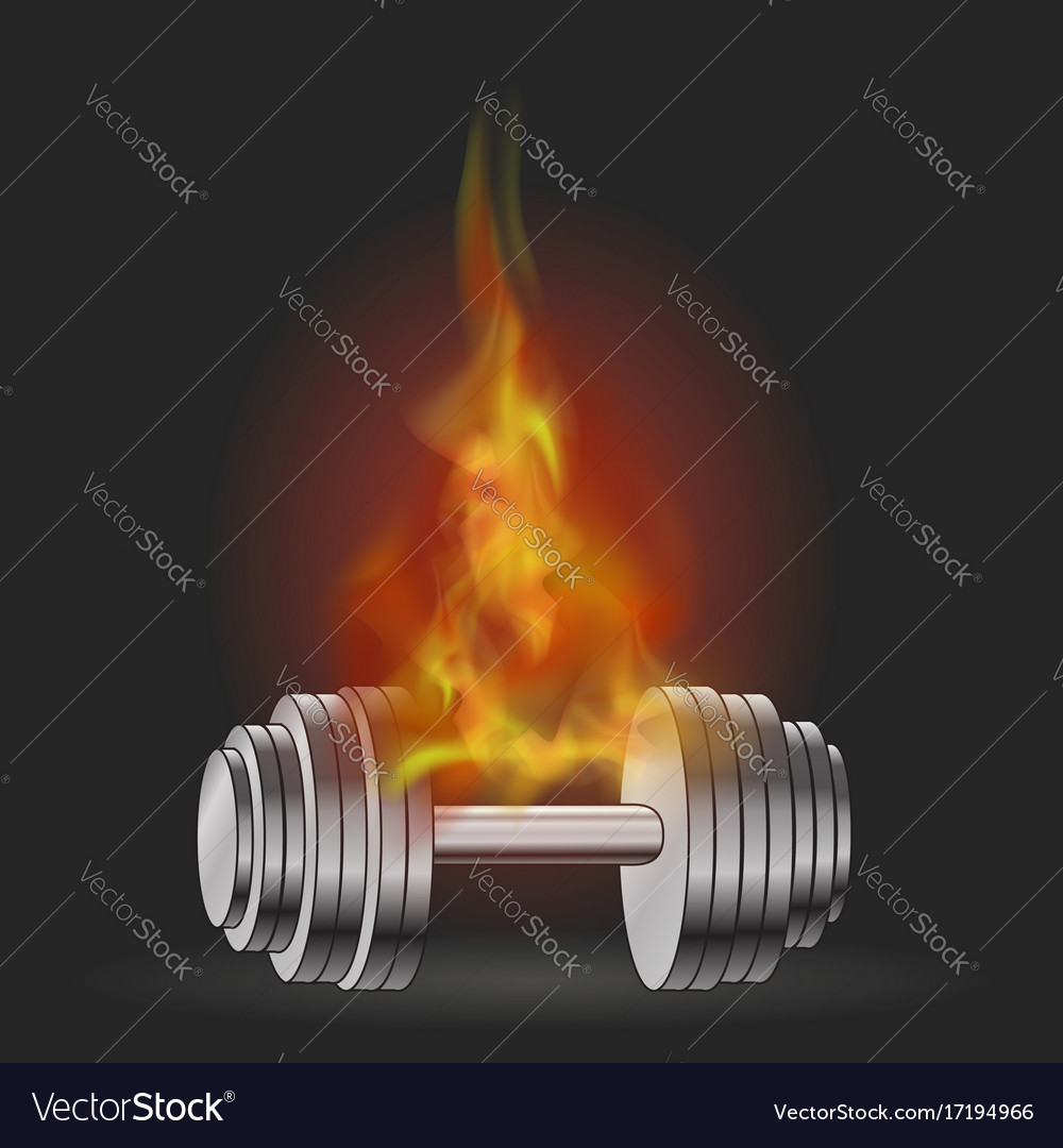 Metallic dumbell and fire flame