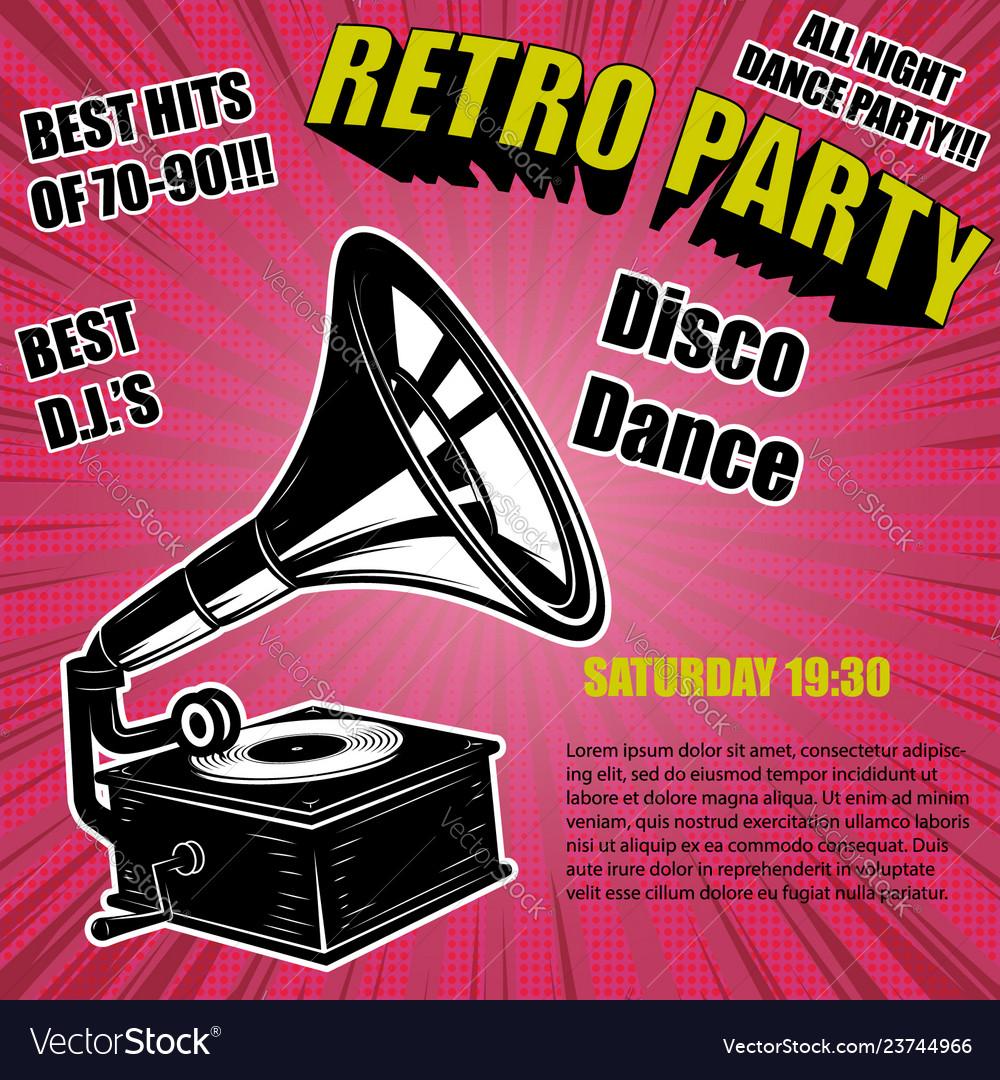 Retro party vintage gramophone on comic style