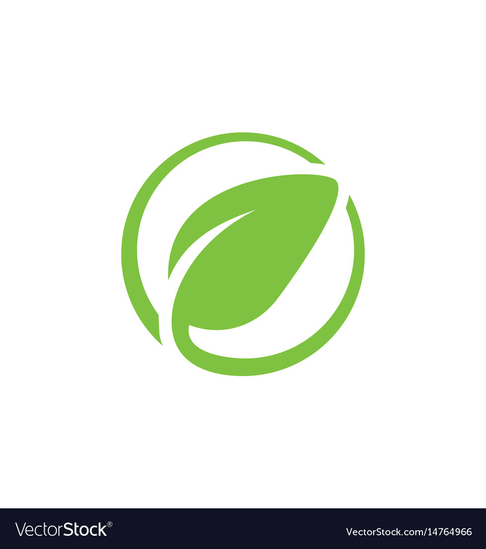 Round green leaf icon logo